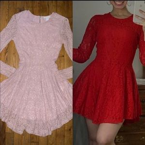 H&M 2 Red/Pink Lace Dresses Bundle